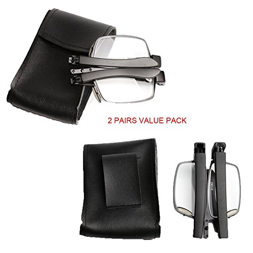 SOOLALA 2Pairs Compact Foldable Pocket Readers Folding Reading Glasses with Leather Case 2.5D