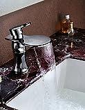 qiuxi Unique bathroom taps Modern Chrome Basin Faucet Waterfall Spout Vessel Sink Mixer Single Handle Deck Mount