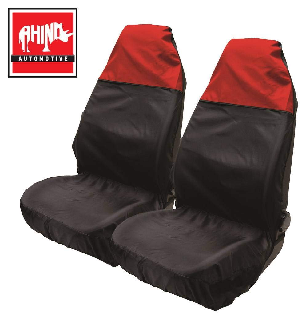 RHINO AUTO Rhino Automotive/© Luxury Full Set Seat Cover Set Black /& Grey Piping RW1159