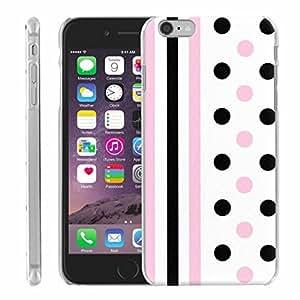 Apple iPhone 6 funda PlusBrite - [delgado diseño] - Rosa/rayas negras y rosa/puntos negros