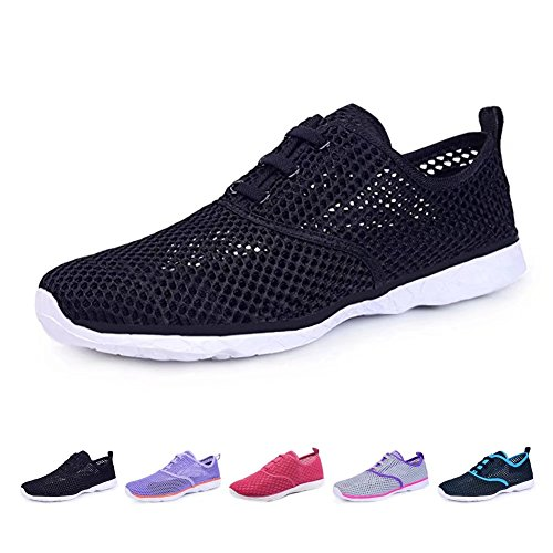 BOKEN Women's Quick Drying Aqua Water Shoes Lightweight Sneakers?Black&White-40