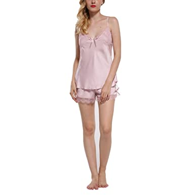 Lace for Women Fashion Backless Straps Lingerie Sets Pijamas Pyjamas Set Two Pieces Pink Set XXL