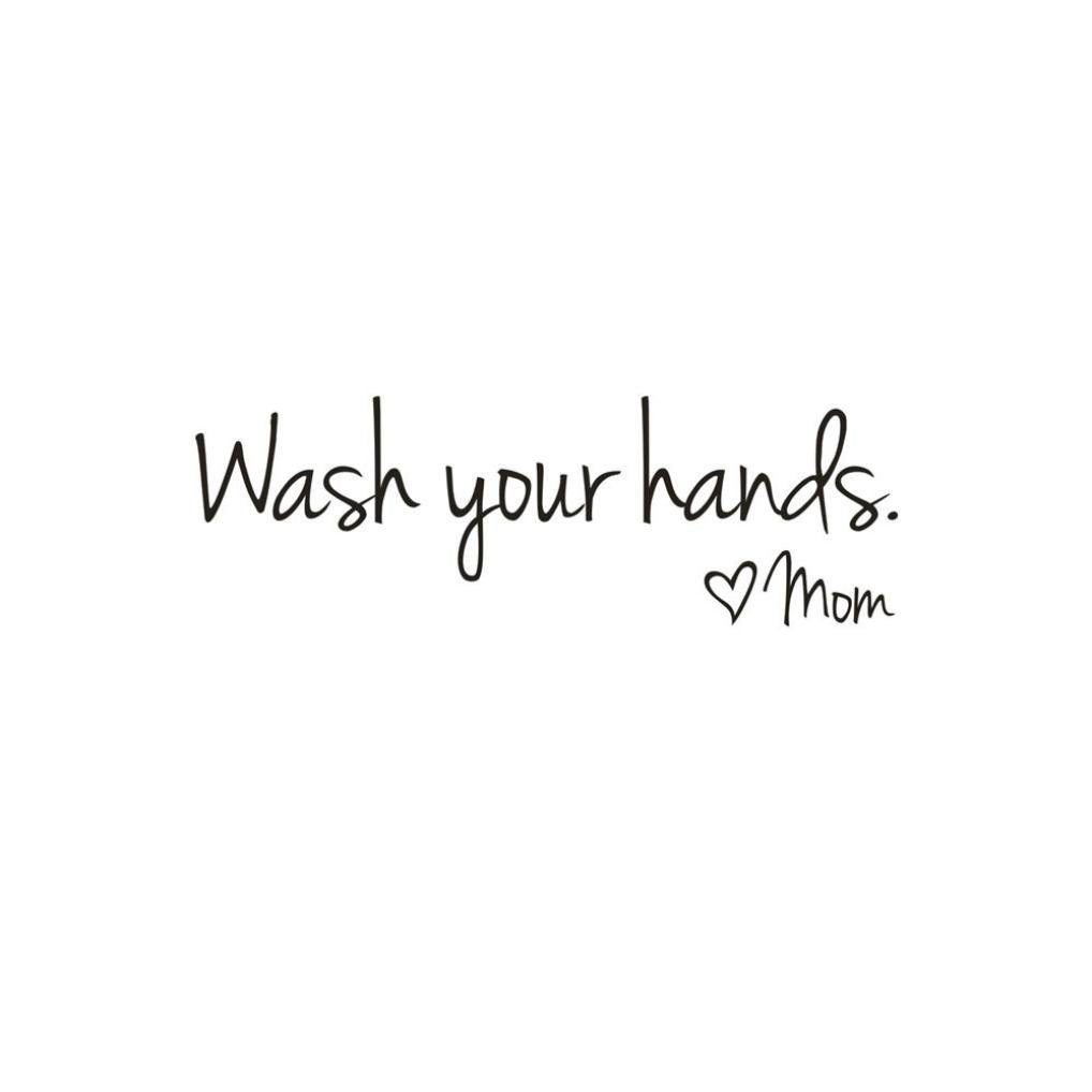 LIKESIDE Wash Your Hands Mom Home Decor Wall Sticker Decal Bedroom Vinyl Art Mural (Black)