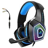 Auriculares para juegos con micrófono para Xbox One PS4 PC Interruptor Tableta Teléfono inteligente, Auriculares Estéreo Sobre el oído Bajo Micrófono de 3,5 mm Cancelación de ruido 7 LED Luz Memoria suave Orejeras (Adaptador gratuito)