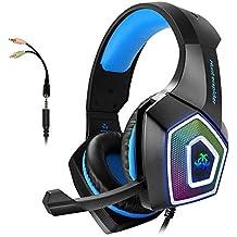 [Patrocinado] Gaming Headset con micrófono para Xbox One PS4pc Nintendo Interruptor Tablet Smartphone, Auriculares estéreo sobre la oreja de graves micrófono cancelación de ruido 7LED luz suave orejeras (Memoria (incluye adaptador)