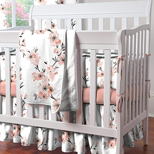 - Carousel Designs Light Coral Cherry Blossom Mini Crib Skirt Gathered