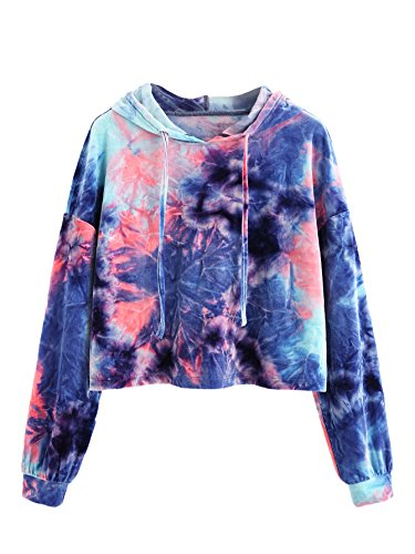 Romwe Women's Velvet Tie Dye Drawstring Long Sleeve Hoodie Crop Top Sweatshirt Multicolored (Drawstring Womens Sweater)