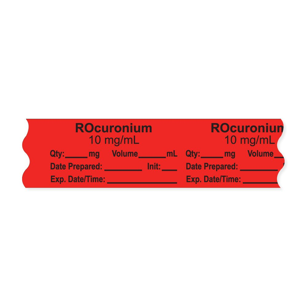 PDC Healthcare AN-2-161D10 Anesthesia Tape with Exp. Date, Time, and Initial, Removable, ''ROcuronium 10 mg/mL'', 1'' Core, 3/4'' x 500'', 333 Imprints, 500 Inches per Roll, Fl. Red (Pack of 500)