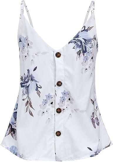 LUNULE Camisas Sin Mangas con Botones de Mujer Sueltas Camisas Blusas para Mujer Camisetas sin Mangas Casual Tirantes Chalecos de Verano: Amazon.es: Ropa y accesorios