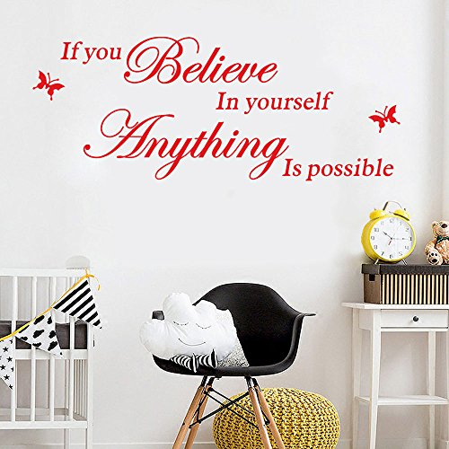 FimKaul Believe in Yourself - Inspirational Family Words Quote Family Wall Sticker Wall Decal Family Room Art Decoration -