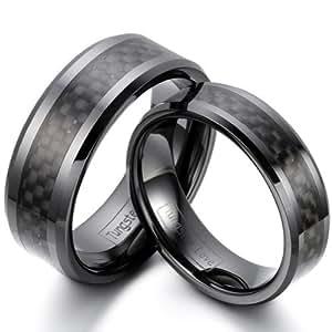 JewelryWe - Par de anillos fibra de carbono negro cerámica, negro. Incluye bolsa de regalo