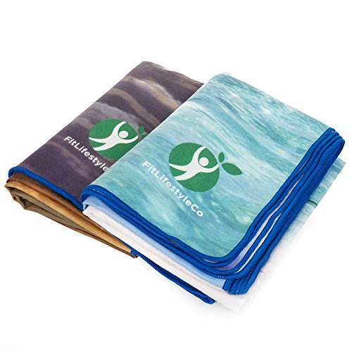 Fitlifestyleco Yoga Mat Towel Combo: Non Slip Best For Hot Yoga Bikram