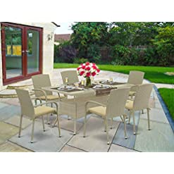 Garden and Outdoor East West Furniture OSJU703A 7Pc Outdoor Natural Color Wicker Dining Set Includes a Patio Table and 6 Balcony Backyard… patio dining sets