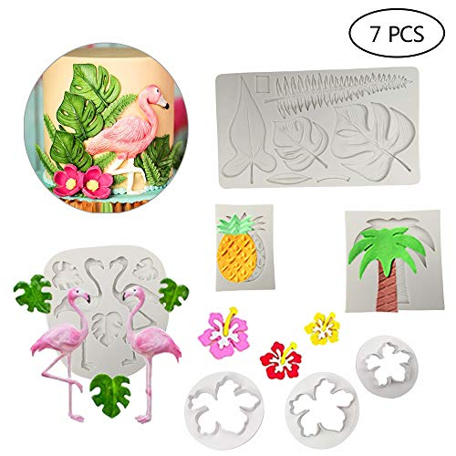 Set of 7 Hawaiian Tropical Rain Forest Theme Cake Fondant Mold Set Flamingo Palm Leaves Coconut Tree Leaves Pineapple Flowers Candy Chocolate Mold for Summer Cake Decorating