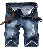 IWOLLENCE Men's Ripped Distressed Jeans Slim Fit Elastic Denim Shorts With Hole Royal Blue-US 30