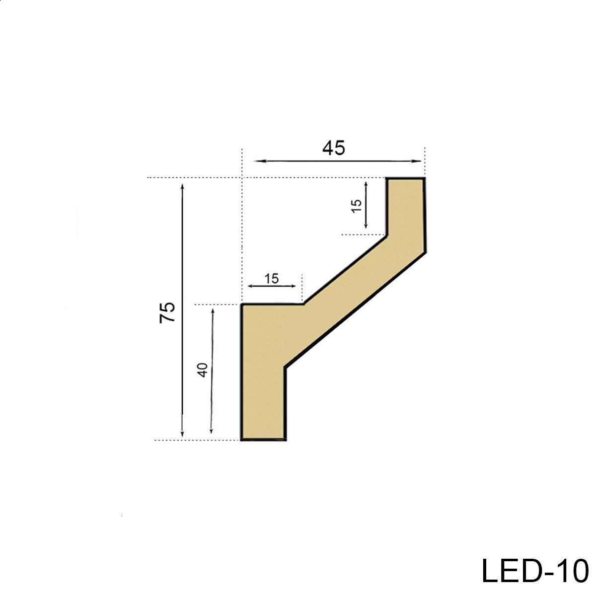 2 Meter PU Stuckprofil Stuckleiste Lichtleiste LED Stuck sto/ßfest 75x45mm LED-10