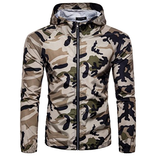 Mens Tops ! Charberry Mens Summer Camouflage Thin Sun Protection Clothing Camouflage Print Suntan-Proof Pullover Hooded T-Shirt Top Blouse (US-L/CN-XL, ()