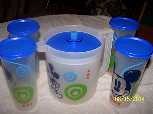 (Tupperware Mickey Mouse Pitcher with (4) Tumblers with Logos)