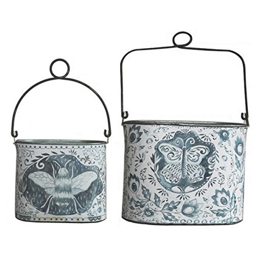 Primitives by Kathy Versatile Decorative Buckets; Set of 2 Vintage Blue and White Watercolor, Folk-Art Inspired, Metal Buckets with Top Wire Loops for Hanging