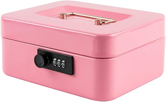 Small Cash Box with Combination Lock Durable Metal Cash Box with Money Tray
