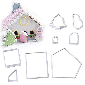 Poetryer 8Pcs moldes para Galletas de Navidad, Molde de Galletas Navidad Cortadores de Galletas Plastico,3D Casa de Navidad,Plástico Ecológico,Salud ...