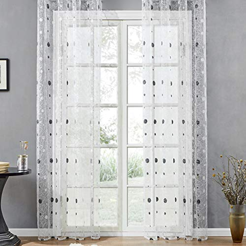 Top Finel Embroidered Sheer Curtains 84 inches Long Polka Dot Rod Pocket White Panels for Living Room Window Treatment Drapes, 54