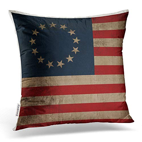 Accrocn Throw Pillow Covers Old Traditional Vogue Vintage Look Early American Flag Cushion Decorative Pillowcases Polyester 18 x 18 Inch Square Pillowcase Hidden Zipper