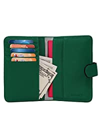 Banuce Top Grains Cowhide Leather Passport Holder Cover Travel Wallet(Grass Green)