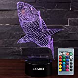 LJOYKID Shark 3D Led Night Light - Optical Illusion 7 Colors Touch Table Desk Visual Lamp with Remote Control Lamp for Gifts Toys for Children Kids