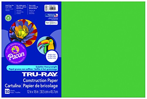 Pacon Tru-Ray Construction Paper, 12-Inches by 18-Inches, 50-Count, Holiday Green (102961)