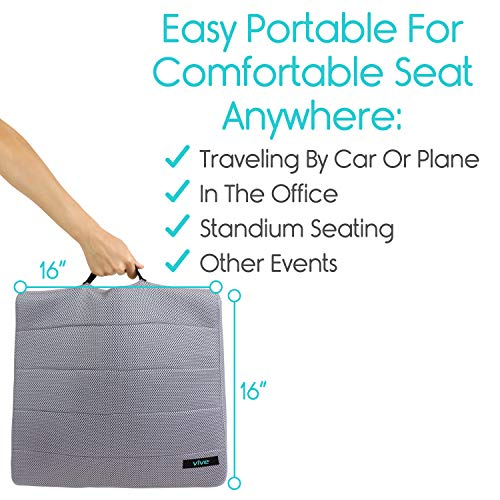 Vive Gel Seat Pad Cushion (Gray) - Orthopedic Seating for Cars, Outdoors, Stadium, Truck, Van, Office, Wheelchairs - For Coccyx, Butt Bone, Tailbone Pain, Lower Back, Sciatica - Sitting Pillow by Vive (Image #2)