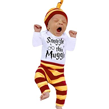 dc6661724376 HEHEM Baby Clothes Girl Boy Newborn Baby Boys Girls Striped Letter Print  Tops+Pants+