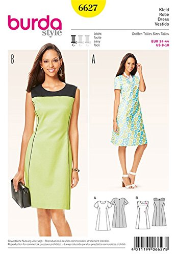 03a8cb48900e Burda - B6627 - Dress Sewing Pattern with a White Paper Template - 19 x 13  x 1 cm  English Language Instructions not Guaranteed   Amazon.co.uk   Kitchen   ...