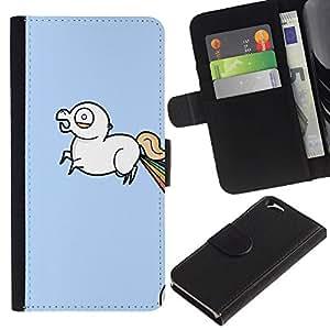 EJOY---Tirón de la caja Cartera de cuero con ranuras para tarjetas / Apple Iphone 6 / --Unicornio del arco iris Lol Wtf divertido