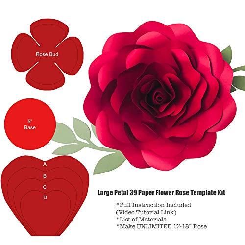 Large Petal 39 Paper Flower Rose Template/Stencils ()
