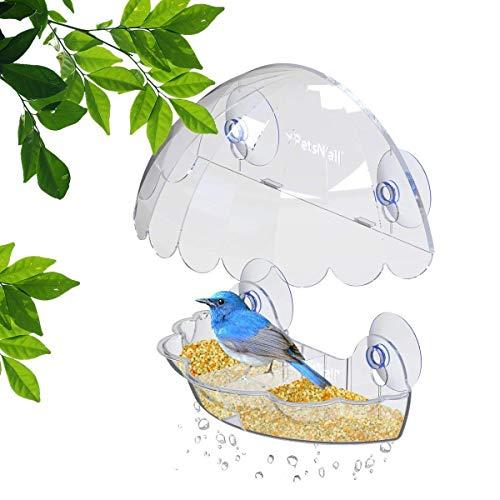 (Bird Feeder By PetsN'all - Transparent, Hanging Bird Feeder in Hexagon Shape, Handles Up To 2.25 Lbs)