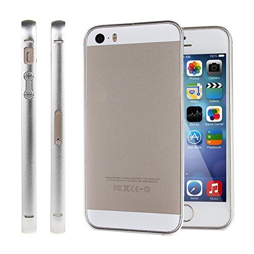 Bumper Case for iPhone 5,Slim Case for iPhone 5s,IKASEFU(TM) Luxury Ultra Thin Slim Aluminum Metal Bumper Frame Case for Apple iPhone 5 5S(B:Silver)