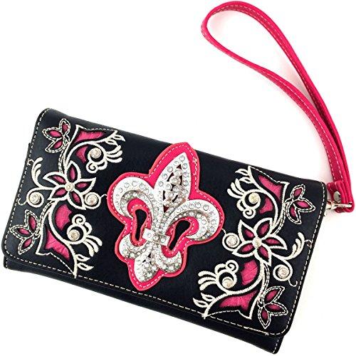 Justin West Fleur De Lis Western Purse Flower Embriodery Design Rhinestone Buckle Concealed Carry Handbag (Black Hot Pink (Fleur De Lis Flap)