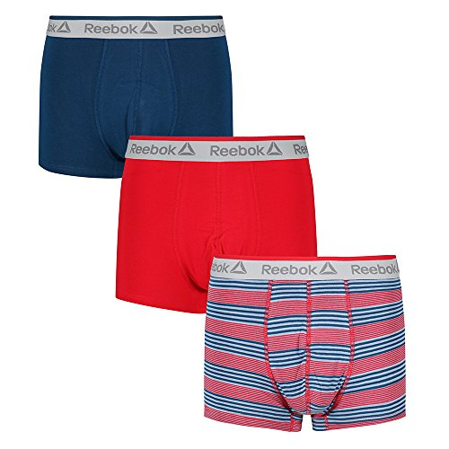 Reebok Men's Boxer Trunk 3 Pack (Plain/Stripe) Moris