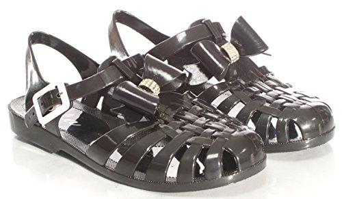 Retro Jelly chanclas sandalias de playa verano para niñas mujeres tallas 35,5-42 negro