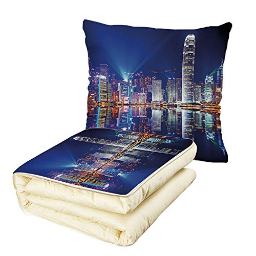 Quilt Dual-Use Pillow City Hong Kong Island from Kowloon Vibrant View Water Reflection Modern China Multifunctional Air-Conditioning Quilt Royal Blue Orange White -