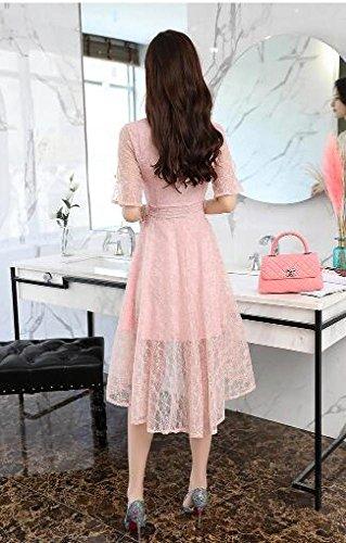 Kurzarm MoMo Damen Kleid Dovetail Rosa V Lang Sommer Ausschnitt dünne Slim xHwYRH