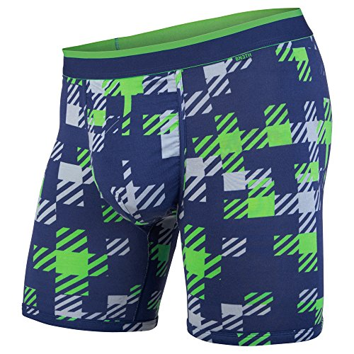 BN3TH Men's Classics Boxer Brief Premium Underwear with Pouch, Team Plaid Navy/Green, Large (Boxer Mens Plaid Classic)