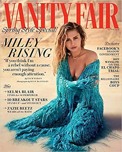 (Vanity Fair Magazine Issue :- March 2019 Cover :- Miley Cyrus + Magazine Cafe)