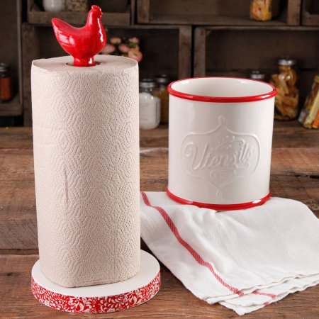 The Pioneer Woman Flea Market Stoneware Red Paper Towel H...