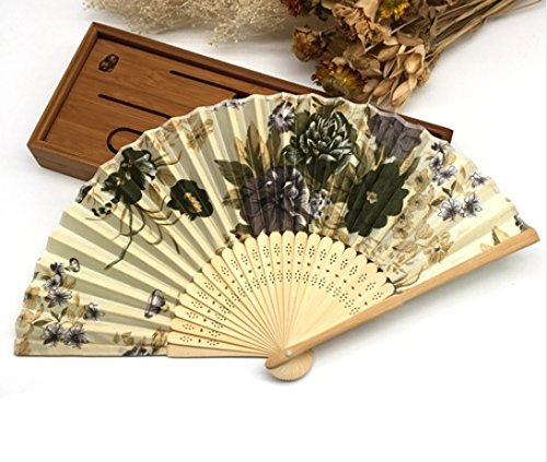 Yellow 100 Pcs/Lot Paper Gift Box Printing Floral Folding Hand Held Fan Wedding Accessories Decoration by Hand Fan