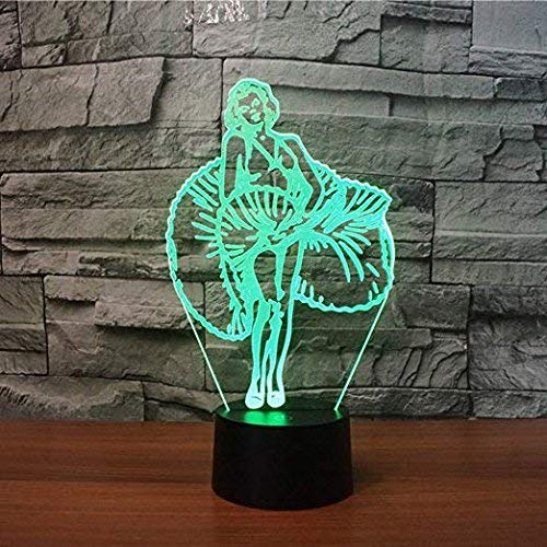 3D Goddess Marilyn Night Light Touch Table Desk Optical Illusion Lamps 7 Color Changing Lights Home Decoration Xmas Birthday Gift ()
