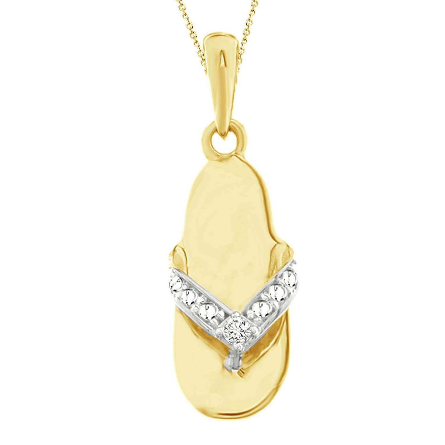 Eternal Bliss 0.01 cttw Round Diamond Ladiess Slipper Fashion Pendant with 18 Chain Solid 10K Gold