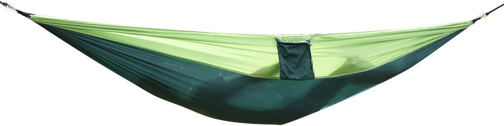 Green Portable Hammock Bed with Carry Bag,Nylon Parachute Fabric Double Hammock for Travle and Outdoor Use