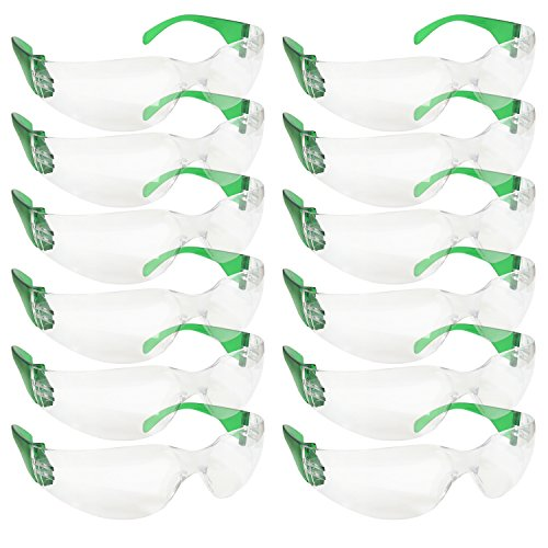SAFE HANDLER Safety Glasses,Impact and Ballistic Resistant Safety Protective Glasses Clear Polycarbonate Lens - Green Temple (Box of 12) (Temple Boxes)